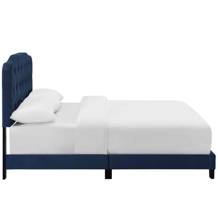 Alicia Full Upholstered Velvet Bed - living-essentials