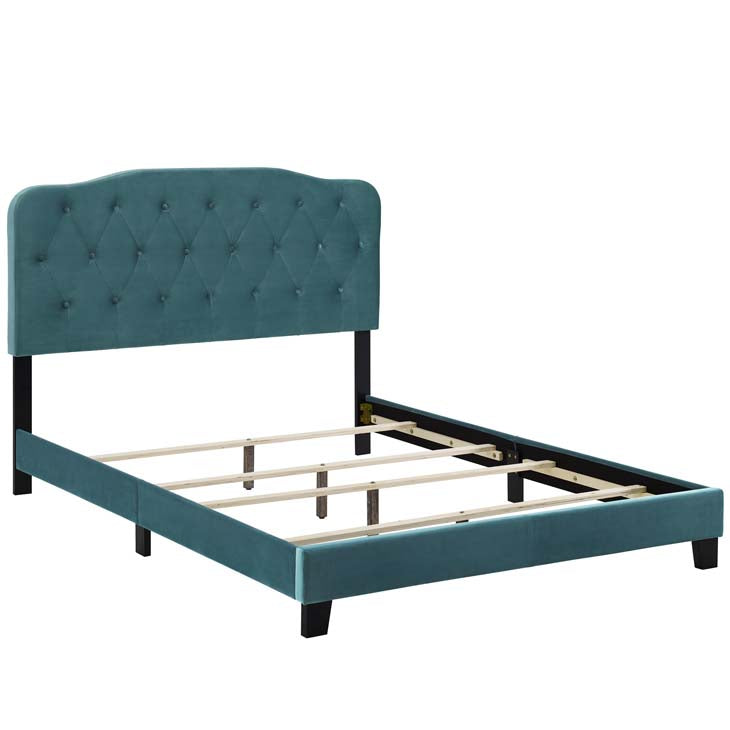 Alicia Queen Upholstered Velvet Bed - living-essentials