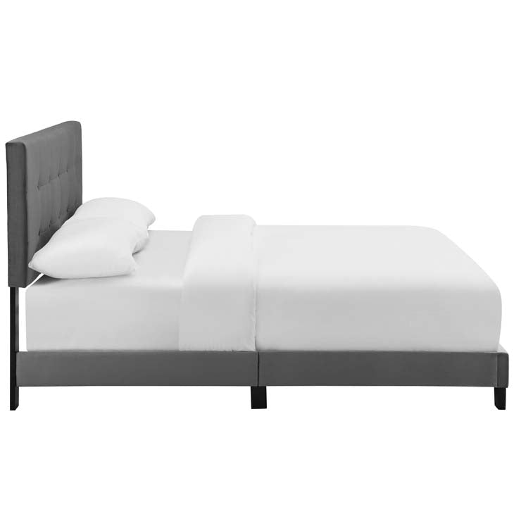 Amira Queen Upholstered Velvet Bed - living-essentials