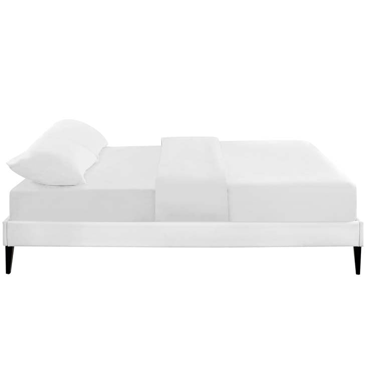 Tempo White Full Bed Frame with Squared Tapered Legs - living-essentials