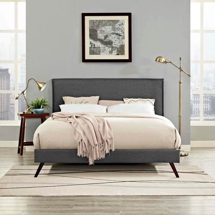Amari Queen Platform Bed with Round Splayed Legs - living-essentials