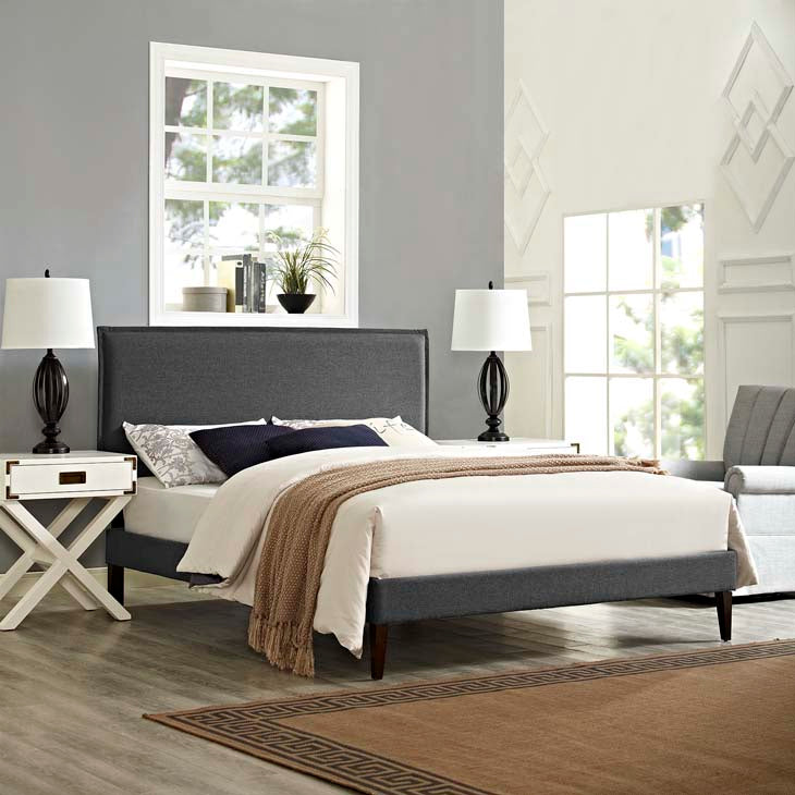 Amari Queen Platform Bed with Squared Tapered Legs - living-essentials