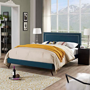 Veronica Queen Platform Bed With Round Splayed Legs Azure Frames Free Shipping