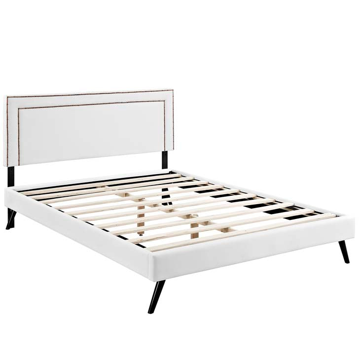 Veronica King Platform Bed with Round Splayed Legs - living-essentials