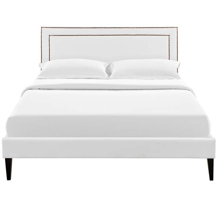 Veronica King Platform Bed with Squared Tapered Legs - living-essentials