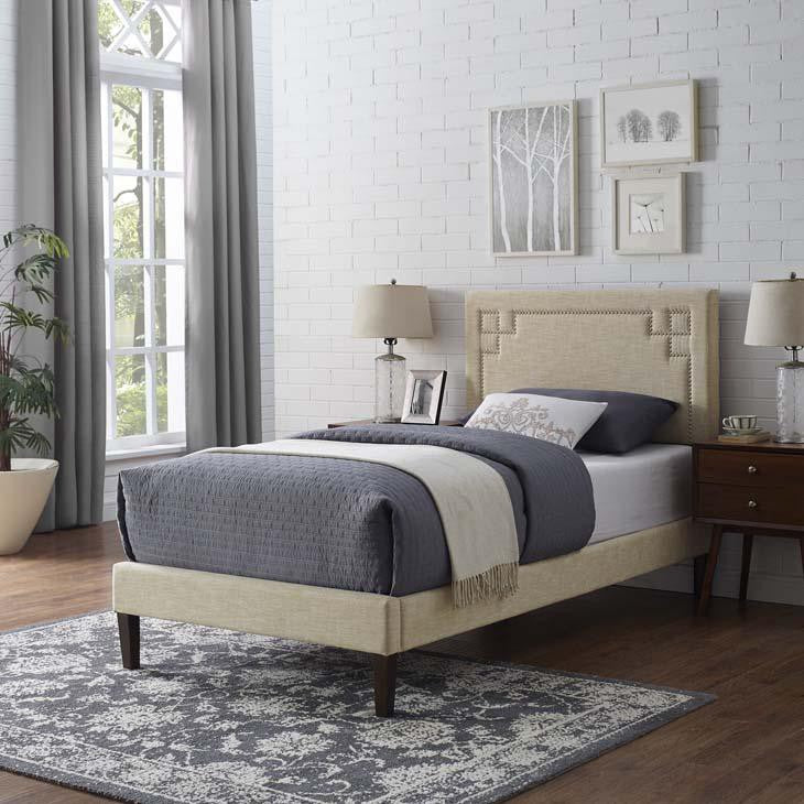 Ruby Twin Platform Bed with Squared Tapered Legs - living-essentials