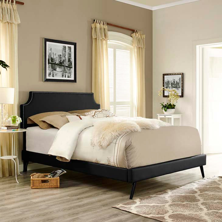 Conner Queen Platform Bed with Round Splayed Legs - living-essentials