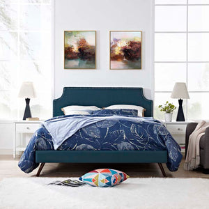 Conner King Platform Bed With Round Splayed Legs Azure Frames Free Shipping