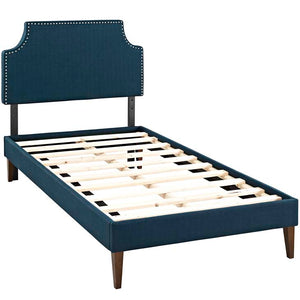 Conner Twin Platform Bed With Squared Tapered Legs Azure Frames Free Shipping