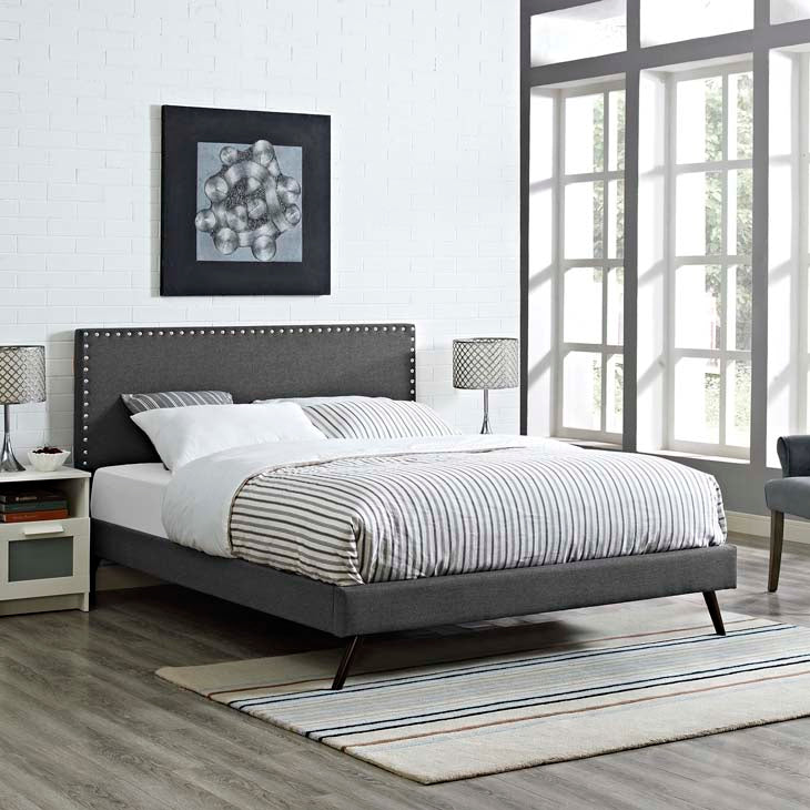 Macey Queen Platform Bed with Round Splayed Legs - living-essentials