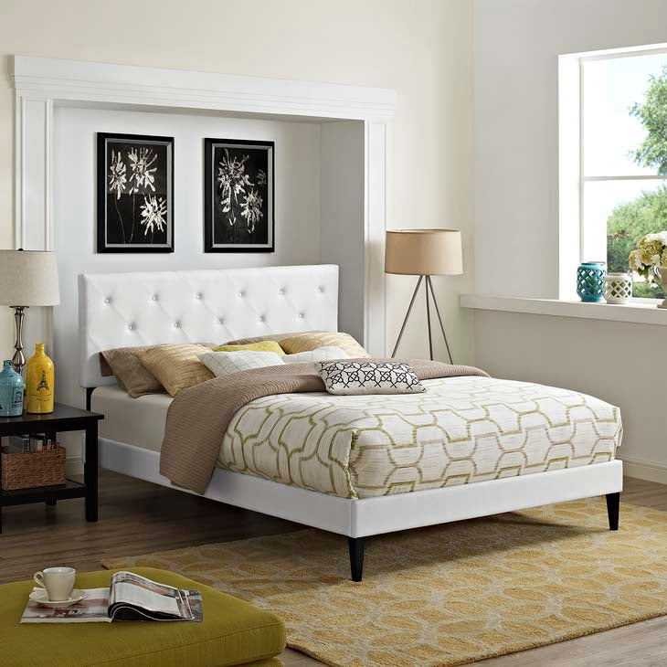 Tamia Queen Platform Bed with Squared Tapered Legs - living-essentials