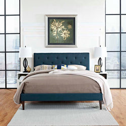 Tamia Queen Platform Bed with Round Splayed Legs - living-essentials