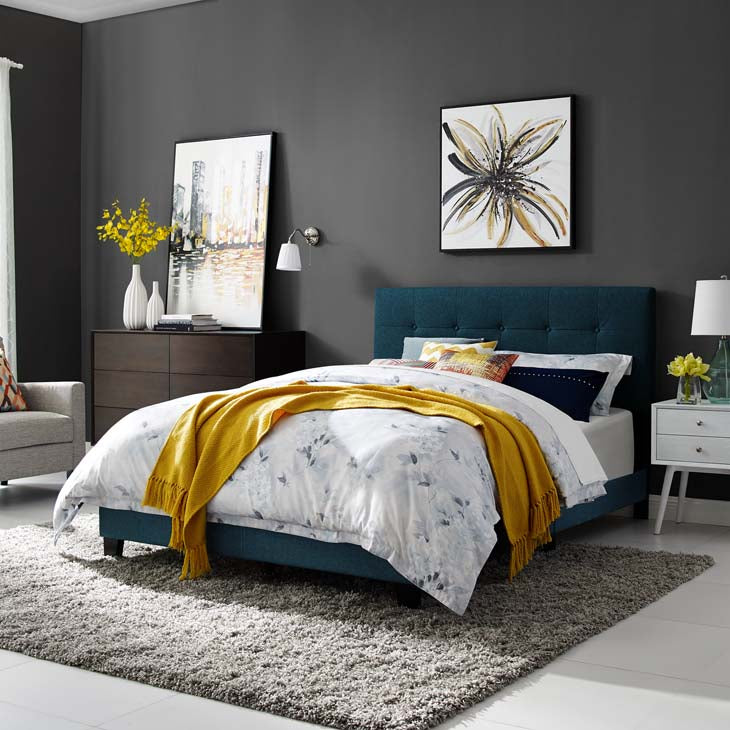 Amira Queen Upholstered Fabric Bed - living-essentials