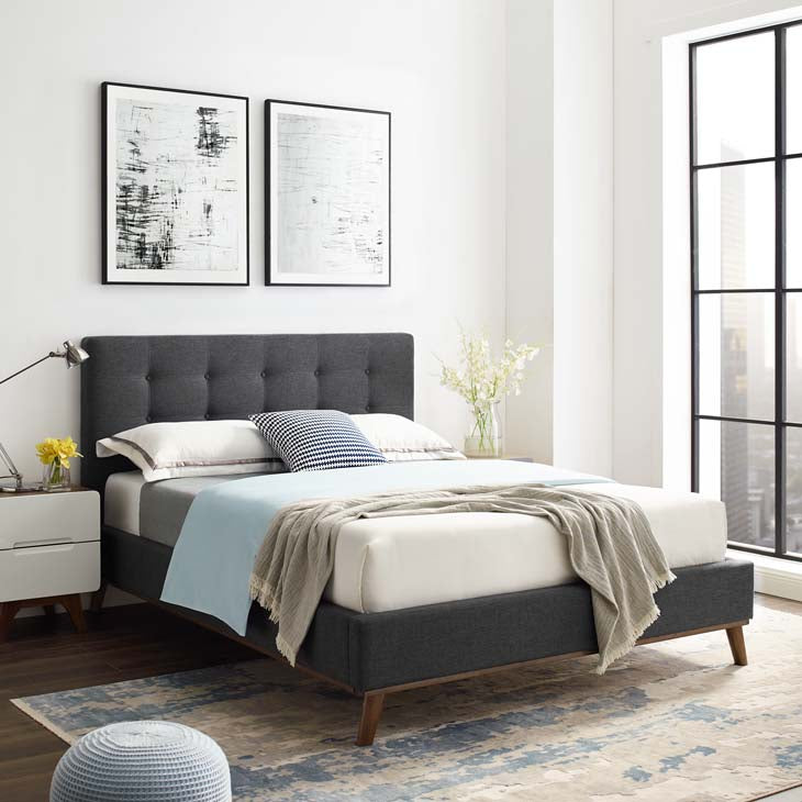 Melissa Queen Biscuit Tufted Upholstered Fabric Platform Bed - living-essentials