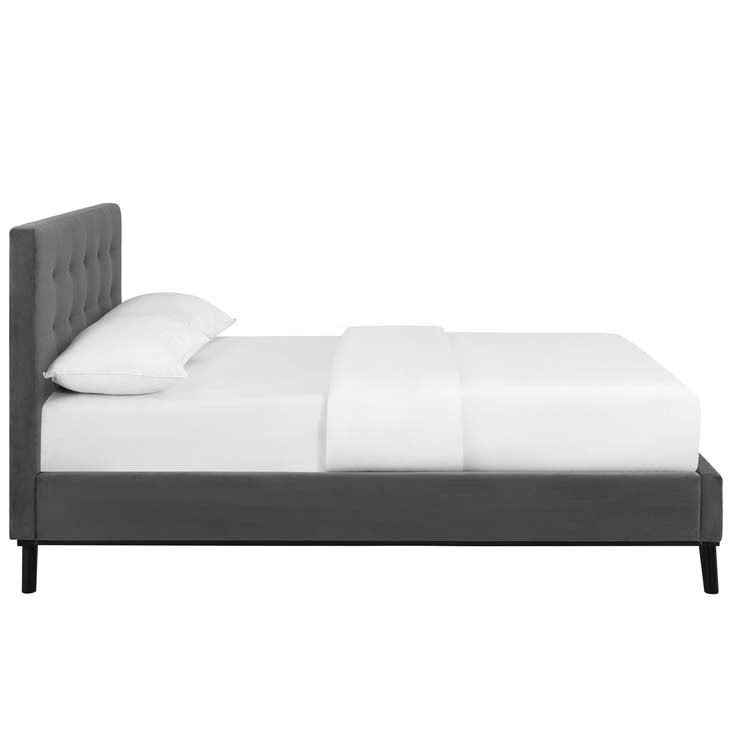 Melissa Queen Biscuit Tufted Performance Velvet Platform Bed - living-essentials