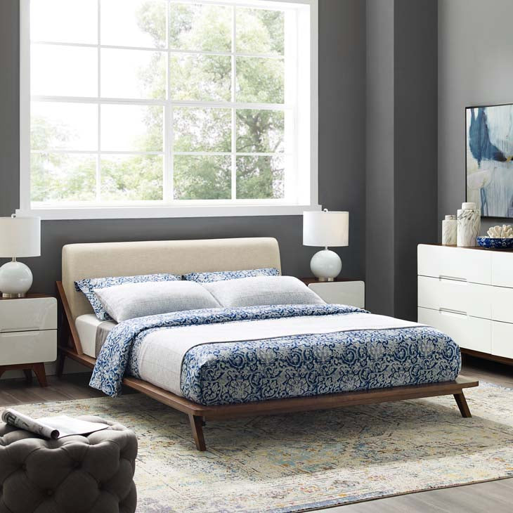 Luella Queen Upholstered Fabric Platform Bed - living-essentials