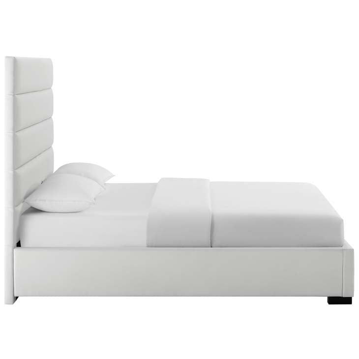 Grania Queen Faux Leather Platform Bed - living-essentials
