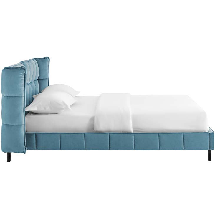 Margaret Queen Upholstered Velvet Platform Bed - living-essentials