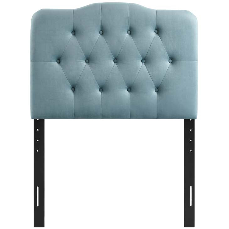 Abigail Twin Diamond Tufted Velvet Headboard - living-essentials