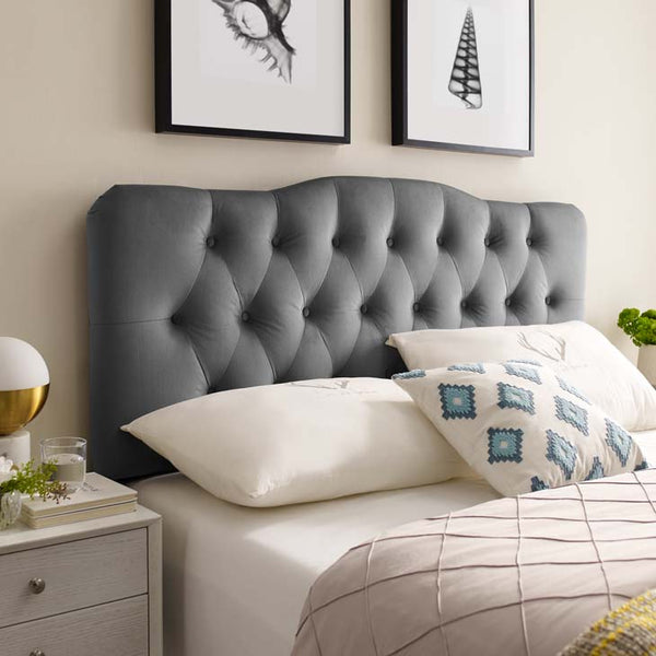 Abigail Full Diamond Tufted Velvet Quirky Headboard - living-essentials