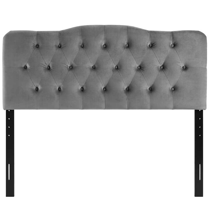 Abigail Diamond Tufted Velvet Queen Headboard - living-essentials