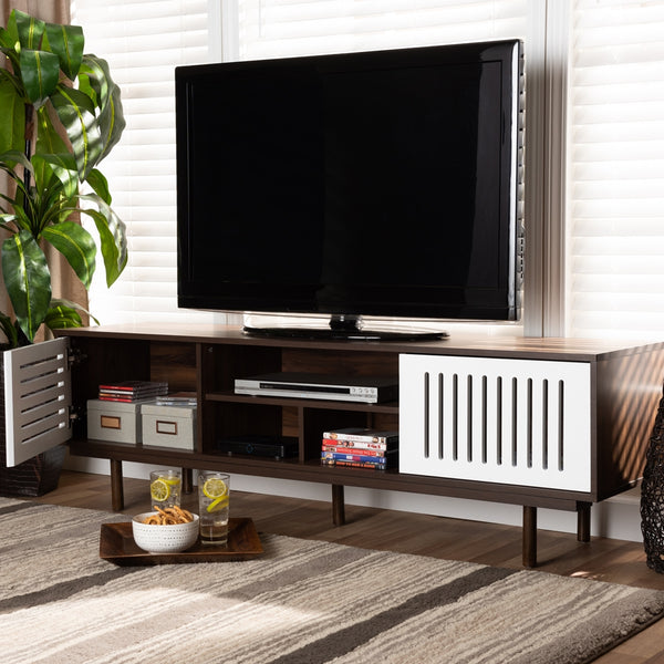 Macy Mid-Century Walnut Brown and White 5 Shelf Modern TV Stand