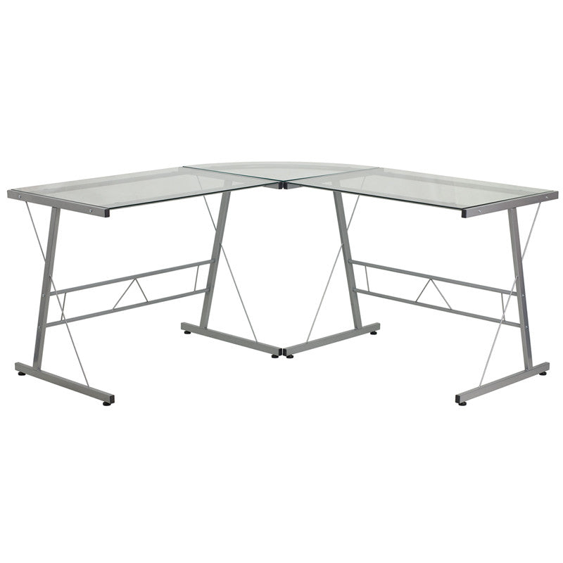 Aubrey Silver Aluminum L-Shaped Office Desk - living-essentials
