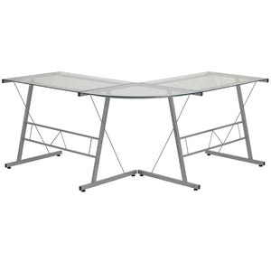 Aubrey Silver Aluminum L-Shaped Office Desk Desks Free Shipping