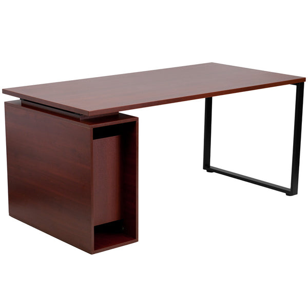 Penny Mahogany Desk with Open Storage - living-essentials