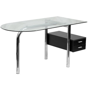 Keira Aluminum 2 Hanging Drawer Glass Top Desk Office Desks Free Shipping