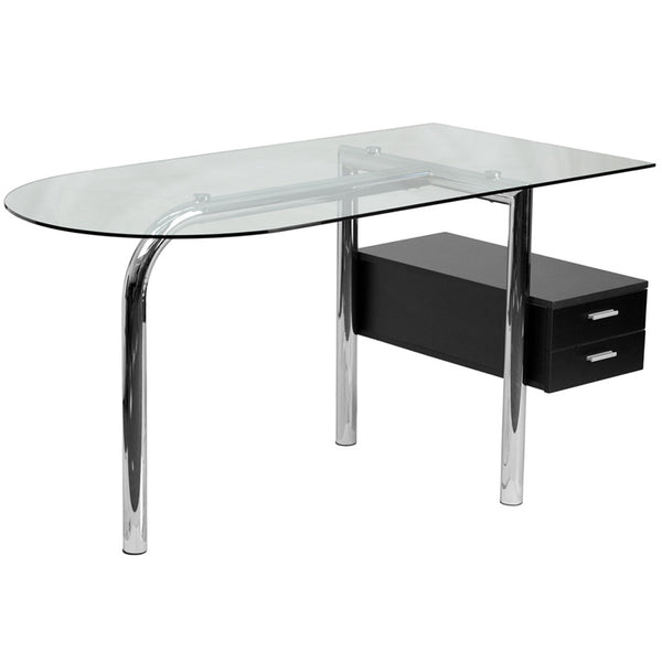 Keira Aluminum 2 Hanging Drawer Glass Top Desk - living-essentials