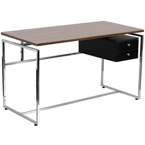 Viola Walnut Aluminum 2 Drawer Office Desk Desks Free Shipping