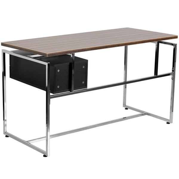 Viola Walnut Aluminum 2 Drawer Office Desk - living-essentials