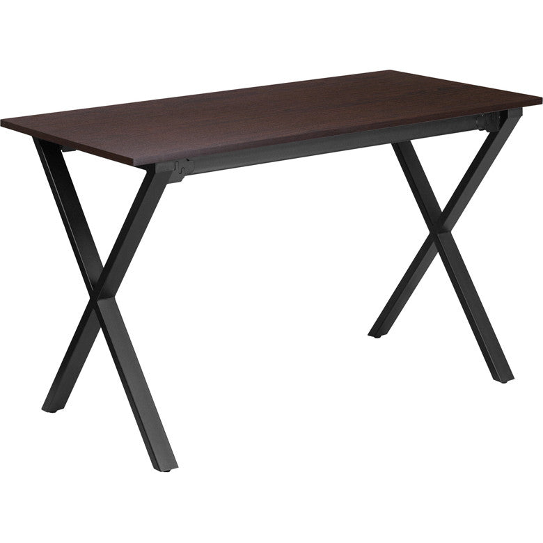 Ava Walnut Cross Legged Rectangular Desk - living-essentials