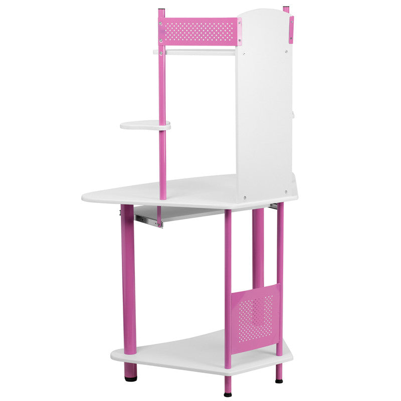 Margot Blue/Pink Corner Office Desk with Hutch - living-essentials