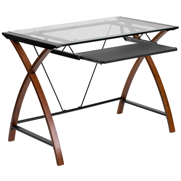 Brie Cherry Glass Desk with Pull-Out Tray - living-essentials