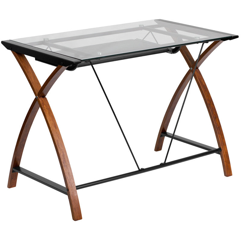 Brie Cherry Glass Desk With Pull-Out Tray Office Desks Free Shipping