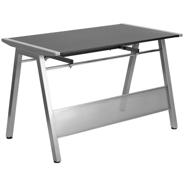 Ursula Black Aluminum Desk with Pull-Out Tray - living-essentials