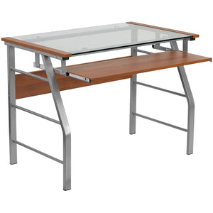 Tyra Cherry Glass Desk With Pull-Out Tray Office Desks Free Shipping