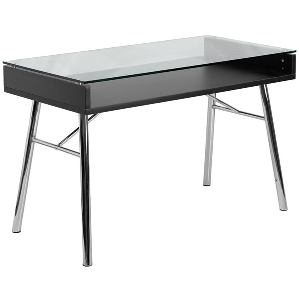 Astrid Black Aluminum Glass Top Desk - living-essentials