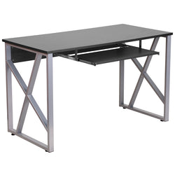 Cleo Black Office Desk with Pull-Out Tray - living-essentials