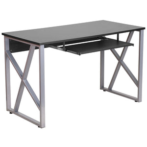 Cleo Black Office Desk With Pull-Out Tray Desks Free Shipping