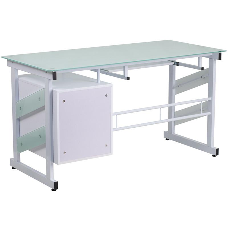 Elsa White 3 Drawer Frosted Office Desk Desks Free Shipping