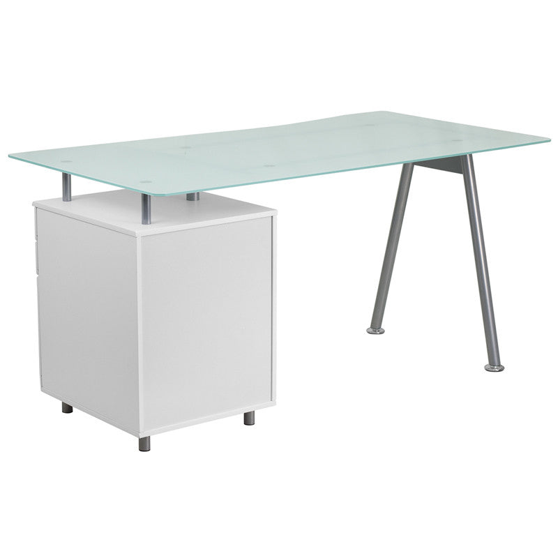 Ida White 3 Drawer Glass Top Office Desk Desks Free Shipping