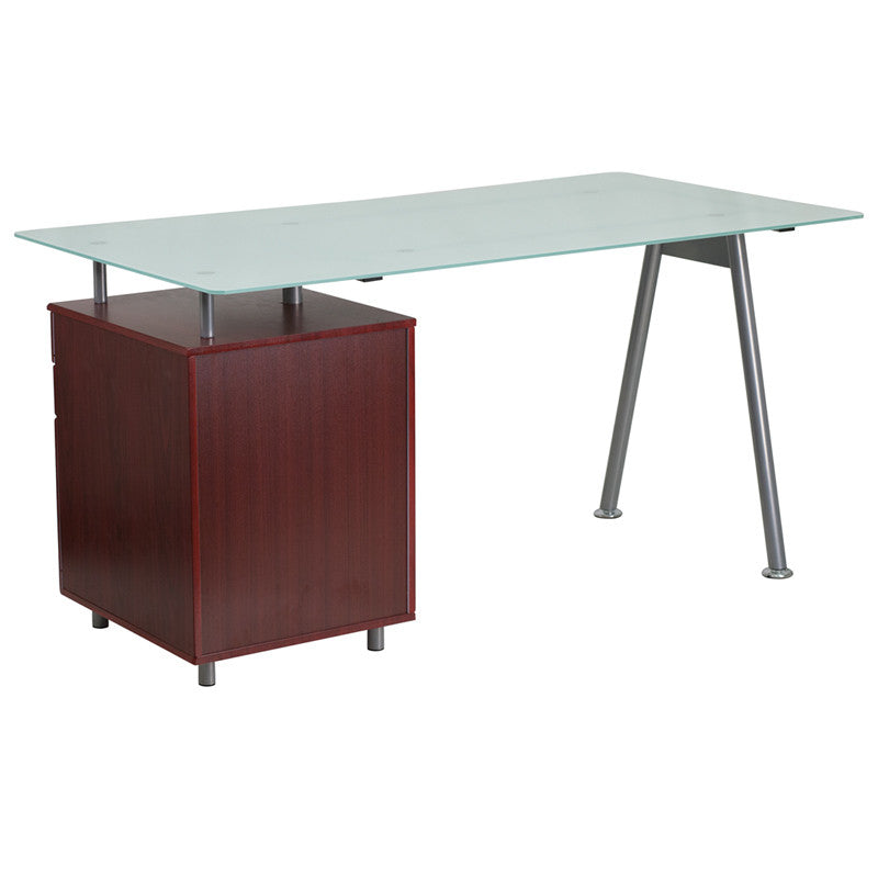 Ida Mahogany 3 Drawer Glass Top Desk Tables Free Shipping