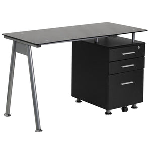 Ida Black 3 Drawer Glass Top Office Desk Desks Free Shipping