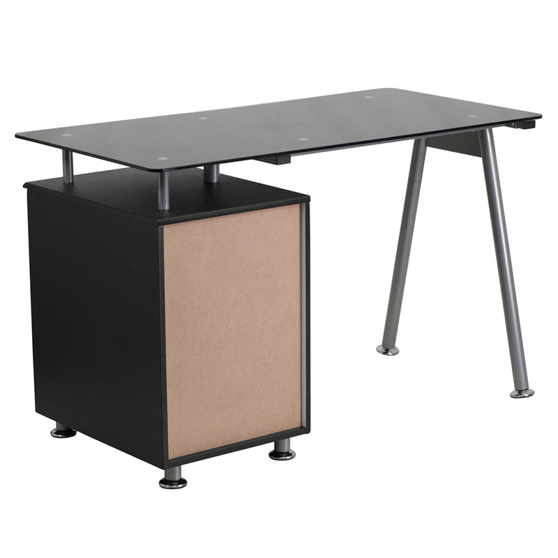 Ida Black 3 Drawer Glass Top Office Desk - living-essentials