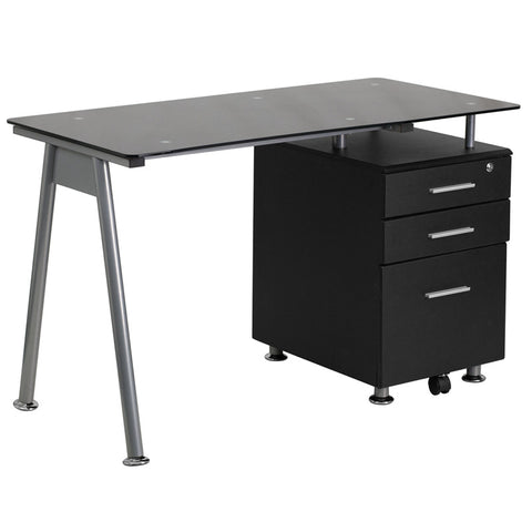 ida black 3 drawer glass top office desk emfurn 1 black glass office desk 1