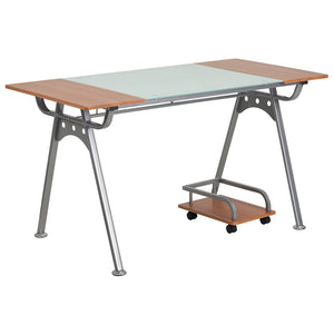 Lois Cherry Office Desk With Glass Insert And Cart Desks Free Shipping