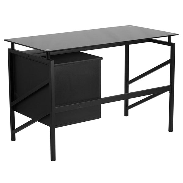 Ida Black 2 Drawer Glass Top Office Desk - living-essentials